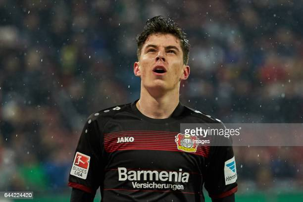 Kai Havertz of Bayer Leverkusen looks on during the Bundesliga match between FC Augsburg and Bayer 04 Leverkusen at WWK Arena on February 17 2017 in...