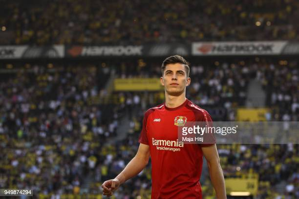 Kai Havertz of Bayer Leverkusen looks on prior the Bundesliga match between Borussia Dortmund and Bayer 04 Leverkusen at Signal Iduna Park on April...