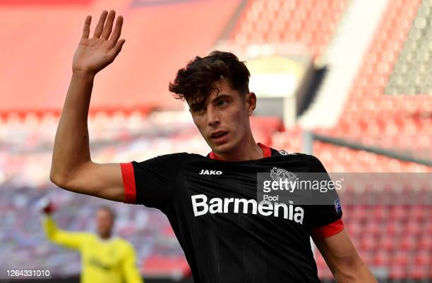 Kai Havertz of Bayer Leverkusen reacts during the UEFA Europa League round of 16 second leg match between Bayer 04 Leverkusen and Rangers FC at...
