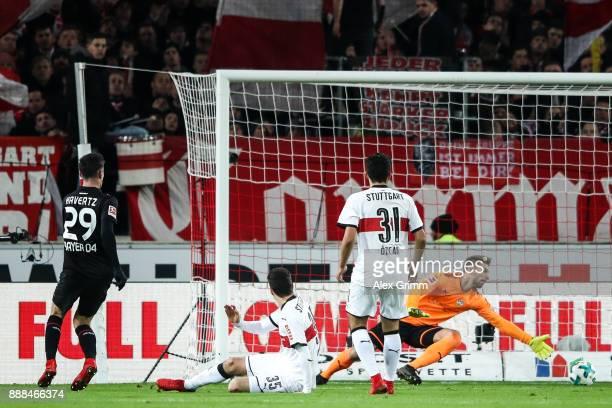Kai Havertz of Bayer Leverkusen scores team's first goal to make it 01 during the Bundesliga match between VfB Stuttgart and Bayer 04 Leverkusen at...
