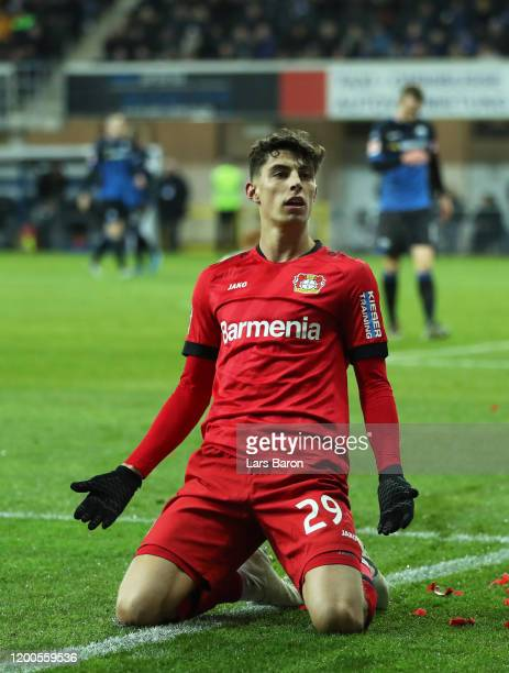 Kai Havertz of Bayern Leverkusen celebrates after scoring his sides fourth goal during the Bundesliga match between SC Paderborn 07 and Bayer 04...