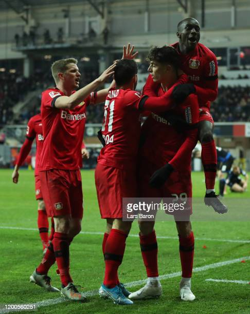 Kai Havertz of Bayern Leverkusen celebrates after scoring his sides fourth goal during the Bundesliga match between SC Paderborn 07 and Bayer 04...