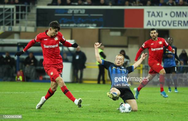 Kai Havertz of Bayern Leverkusen scores his sides fourth goal during the Bundesliga match between SC Paderborn 07 and Bayer 04 Leverkusen at the...