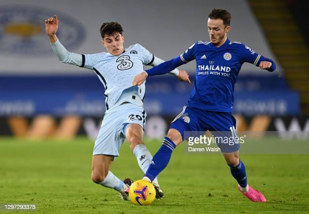 Kai Havertz of Chelsea and James Maddison of Leicester City battle for possession during the Premier League match between Leicester City and Chelsea...