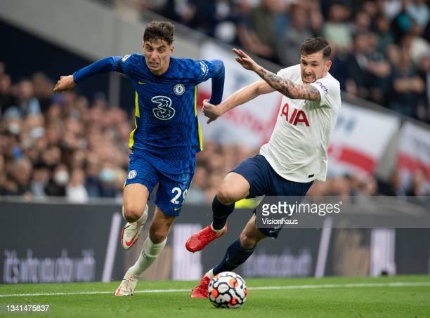 Kai Havertz of Chelsea and Pierre-Emile Højbjerg of Tottenham Hotspur during the Premier League match between Tottenham Hotspur and Chelsea at...