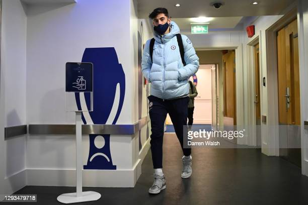 Kai Havertz of Chelsea arrives at the stadium prior to the Premier League match between Chelsea and Aston Villa at Stamford Bridge on December 28,...