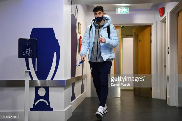 Kai Havertz of Chelsea arrives at the stadium prior to the Premier League match between Chelsea and Manchester City at Stamford Bridge on January 03,...