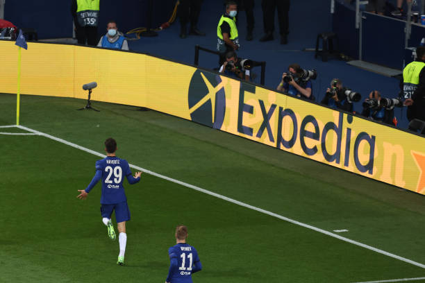 Kai Havertz of Chelsea celebrates after scoring a goal to make it 0-1 during the UEFA Champions League Final between Manchester City and Chelsea FC...