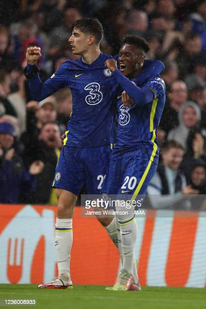 Kai Havertz of Chelsea celebrates after scoring a goal to make it 3-0 with Callum Hudson-Odoi during the UEFA Champions League group H match between...