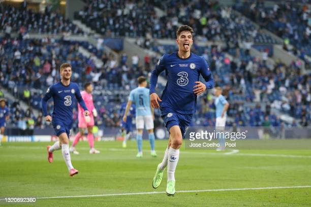 Kai Havertz of Chelsea celebrates after scoring their side's first goal during the UEFA Champions League Final between Manchester City and Chelsea FC...