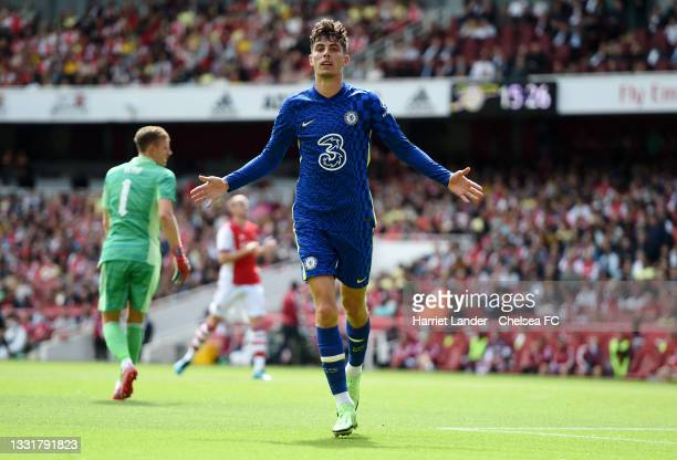 Kai Havertz of Chelsea celebrates after scoring their side's first goal during the Pre-Season Friendly match between Arsenal and Chelsea at Emirates...