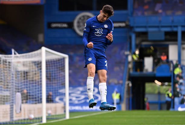 Kai Havertz of Chelsea celebrates after scoring their side's second goal during the Premier League match between Chelsea and Fulham at Stamford...