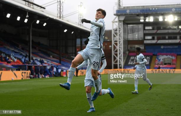 Kai Havertz of Chelsea celebrates after scoring their team's first goal during the Premier League match between Crystal Palace and Chelsea at...