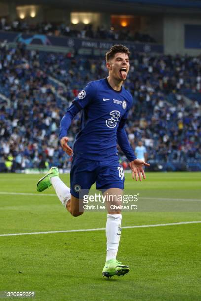 Kai Havertz of Chelsea celebrates after scoring their team's first goal during the UEFA Champions League Final between Manchester City and Chelsea FC...