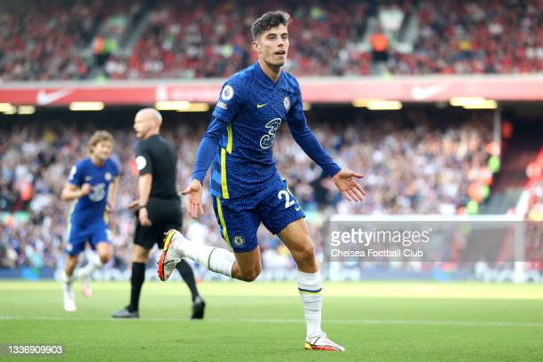 Kai Havertz of Chelsea celebrates after scoring their team's first goal during the Premier League match between Liverpool and Chelsea at Anfield on...