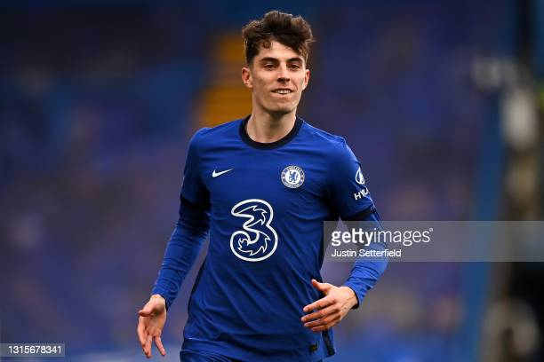 Kai Havertz of Chelsea celebrates after scoring their team's second goal during the Premier League match between Chelsea and Fulham at Stamford...