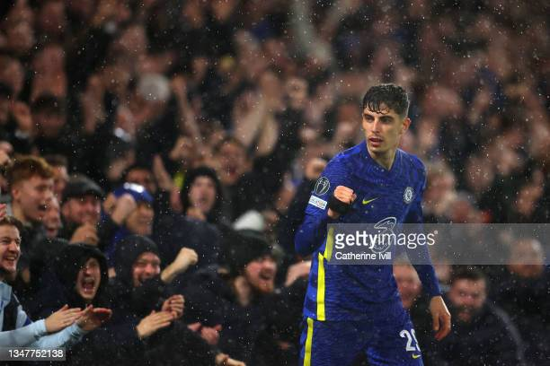 Kai Havertz of Chelsea celebrates after scoring their team's third goal during the UEFA Champions League group H match between Chelsea FC and Malmo...