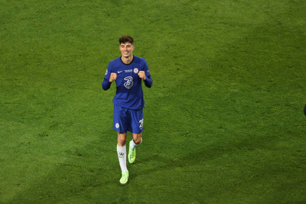 Kai Havertz of Chelsea celebrates during the UEFA Champions League Final between Manchester City and Chelsea FC at Estadio do Dragao on May 29, 2021...