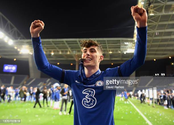 Kai Havertz of Chelsea celebrates with his winners medal following victory during the UEFA Champions League Final between Manchester City and Chelsea...
