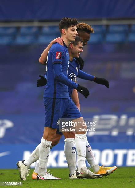 Kai Havertz of Chelsea celebrates with team mates Cesar Azpilicueta and Tammy Abraham after scoring their side's fourth goal during the FA Cup Third...