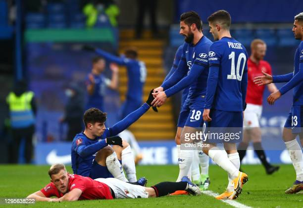 Kai Havertz of Chelsea celebrates with team mates Olivier Giroud and Christian Pulisic after scoring their side's fourth goal during the FA Cup Third...
