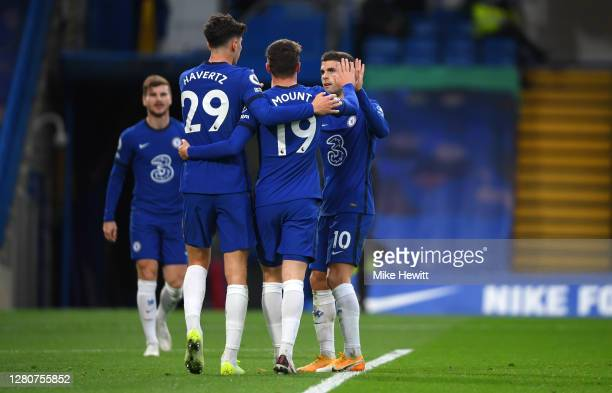 Kai Havertz of Chelsea celebrates with teammates after scoring his sides third goal during the Premier League match between Chelsea and Southampton...