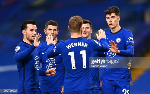 Kai Havertz of Chelsea celebrates with teammates Ben Chilwell Mason Mount Timo Werner and Christian Pulisic after scoring his team's third goal...