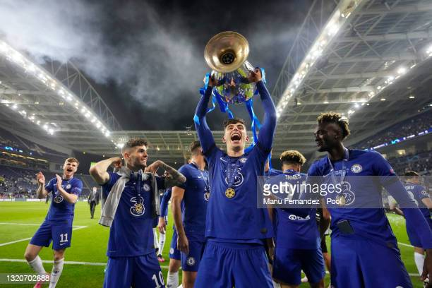 Kai Havertz of Chelsea celebrates with the Champions League Trophy following their team's victory during the UEFA Champions League Final between...