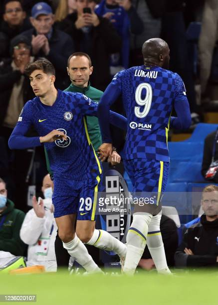 Kai Havertz of Chelsea comes on two replace the injured Romelu Lukaku during the UEFA Champions League group H match between Chelsea FC and Malmo FF...
