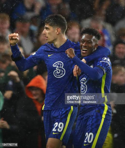 Kai Havertz of Chelsea FC celebrates scoring his teams third goal during the UEFA Champions League group H match between Chelsea FC and Malmo FF at...