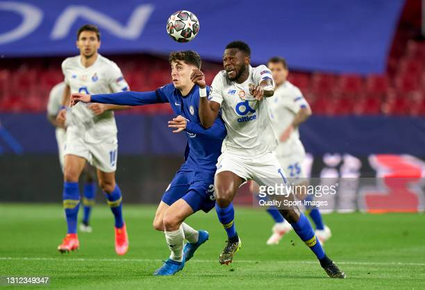 Kai Havertz of Chelsea FC competes for the ball with Chancel Mbemba of Porto during the UEFA Champions League Quarter Final Second Leg match between...