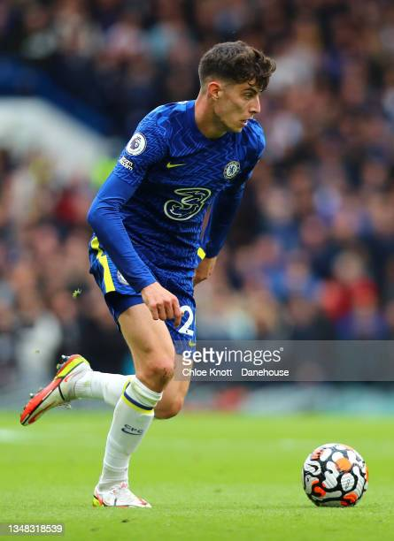 Kai Havertz of Chelsea FC controls the ball during the Premier League match between Chelsea and Norwich City at Stamford Bridge on October 23, 2021...
