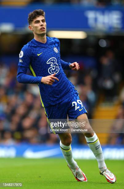 Kai Havertz of Chelsea FC during the Premier League match between Chelsea and Norwich City at Stamford Bridge on October 23, 2021 in London, England.