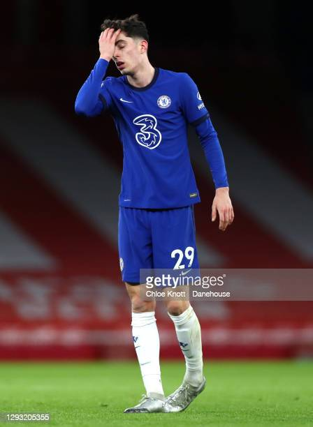 Kai Havertz of Chelsea FC reacts during the Premier League match between Arsenal and Chelsea at Emirates Stadium on December 26, 2020 in London,...