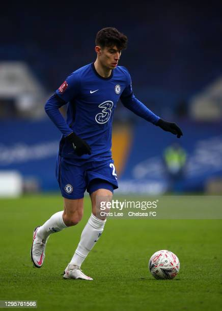 Kai Havertz of Chelsea in action during the FA Cup Third Round match between Chelsea and Morecambe at Stamford Bridge on January 10, 2021 in London,...