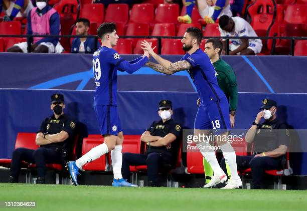 Kai Havertz of Chelsea is replaced by teammate Olivier Giroud during the UEFA Champions League Quarter Final Second Leg match between Chelsea FC and...