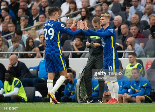 Kai Havertz of Chelsea is replaced by Timo Werner during the Premier League match between Tottenham Hotspur and Chelsea at Tottenham Hotspur Stadium...