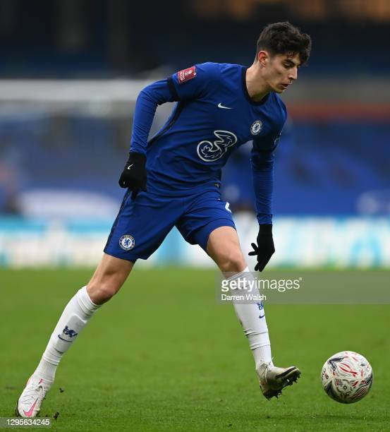 Kai Havertz of Chelsea passes the ball during the FA Cup Third Round match between Chelsea and Morecambe at Stamford Bridge on January 10, 2021 in...