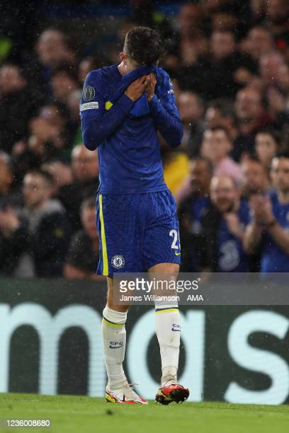 Kai Havertz of Chelsea reacts after a missed chance during the UEFA Champions League group H match between Chelsea FC and Malmo FF at Stamford Bridge...