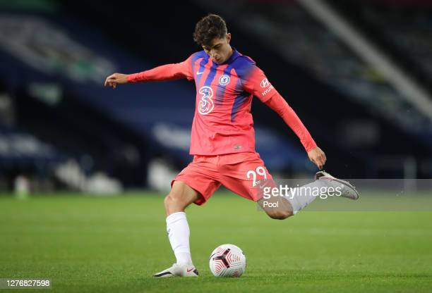 Kai Havertz of Chelsea runs with the ball during the Premier League match between West Bromwich Albion and Chelsea at The Hawthorns on September 26...