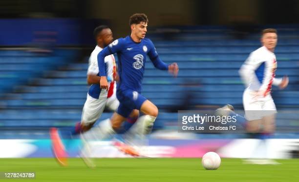 Kai Havertz of Chelsea runs with the ball during the Premier League match between Chelsea and Crystal Palace at Stamford Bridge on October 03, 2020...
