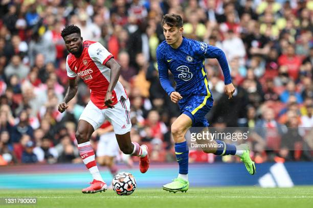 Kai Havertz of Chelsea runs with the ball during the Pre-Season Friendly match between Arsenal and Chelsea at Emirates Stadium on August 01, 2021 in...