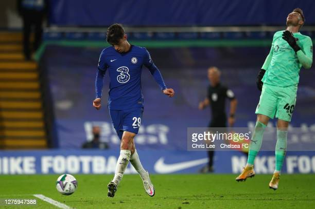 Kai Havertz of Chelsea scores his sides fifth goal during the Carabao Cup third round match between Chelsea and Barnsley at Stamford Bridge on...