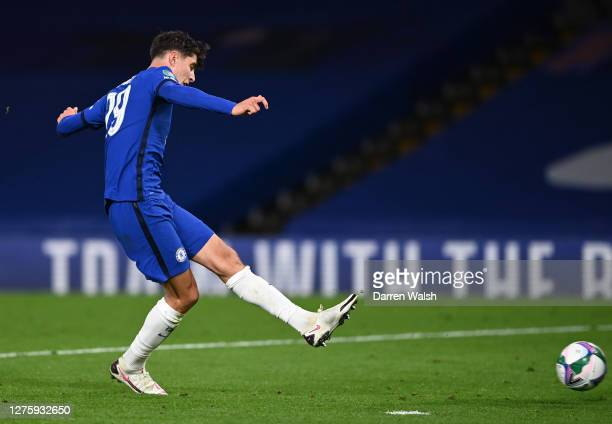 Kai Havertz of Chelsea scores his sides fourth goal during the Carabao Cup third round match between Chelsea and Barnsley at Stamford Bridge on...