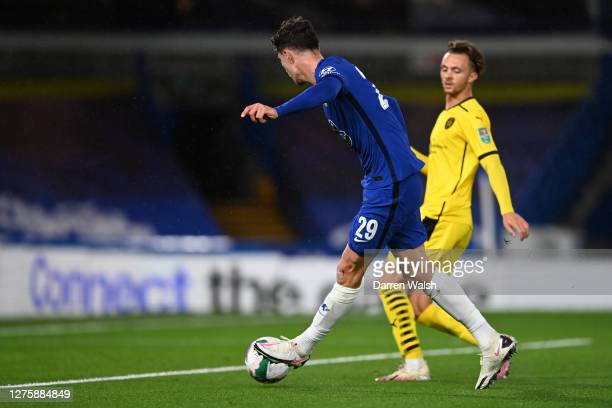 Kai Havertz of Chelsea scores his sides second goal during the Carabao Cup third round match between Chelsea and Barnsley at Stamford Bridge on...