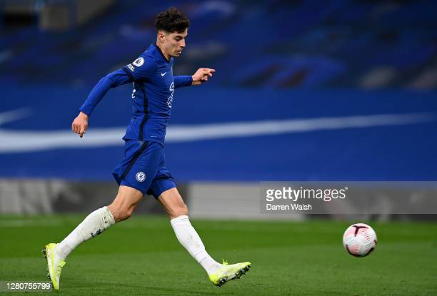 Kai Havertz of Chelsea scores his sides third goal during the Premier League match between Chelsea and Southampton at Stamford Bridge on October 17,...
