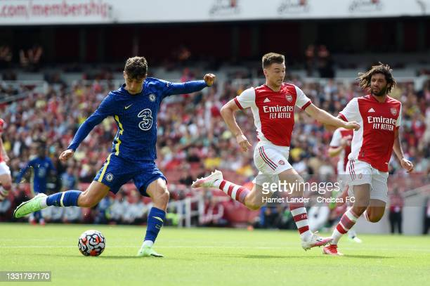 Kai Havertz of Chelsea scores their side's first goal during the Pre-Season Friendly match between Arsenal and Chelsea at Emirates Stadium on August...