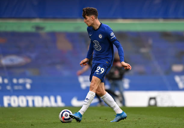 Kai Havertz of Chelsea scores their side's second goal during the Premier League match between Chelsea and Fulham at Stamford Bridge on May 01, 2021...