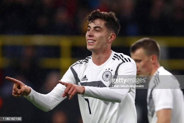 Kai Havertz of Germany celebrates scoring his teams second goal of the game during the international friendly match between Germany and Argentina at...