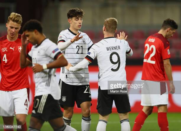 Kai Havertz of Germany celebrates with teammates after scoring his team's second goal during the UEFA Nations League group stage match between...